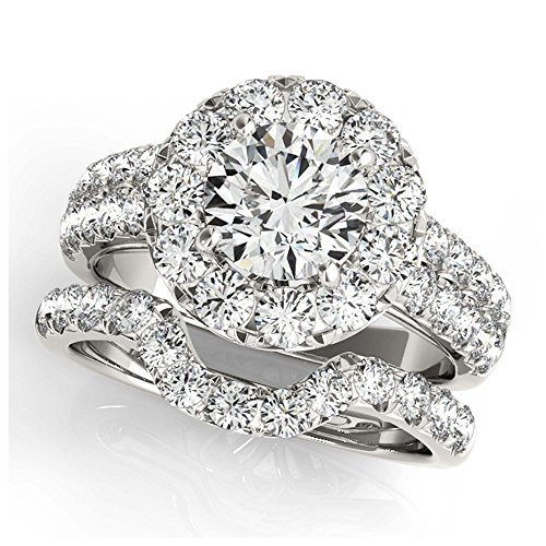 14K White Gold Unique Wedding Diamond Bridal Set Style MT50847