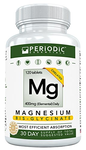 Chelated Magnesium Supplements Bisglycinate • Harvard Studied Absorption • Dual Glycinate Amino Acid Chelate 400mg • Best for Mg Deficiency • Non Laxative • Not Buffered • For Women & Men • USA Made (Typical Amino Acid)