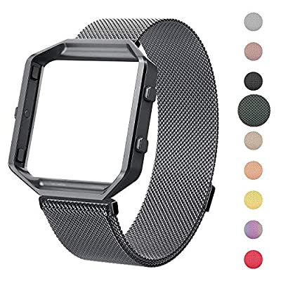 CRODI Compatible with Fitbit Blaze Bands, Gap Metal Frame, Stainless Steel Magnetic Milanese Womens Mens Replacement Band Fit bit Blaze Wristbands