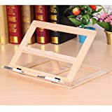 LKXHarleya Wooden Frame Reading Bookshelf Bracket Tablet PC Support Music Stand