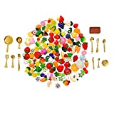 #1: SIX VANKA 112pcs Mixed Miniature Decoration Cute Resin Food Fruit & Vegetable Kitchenware Tableware Kit Set for DIY Phone Case Nail Art Birthday Party Kitchen Doll House