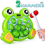 Interactive Whack A Frog Game Birthday for 2 3 4 5 6 7 Years Old Boy and Girl Activities Games Pounding Toy with 2 Hammers for Kids Babies Toddlers Developmental Toys