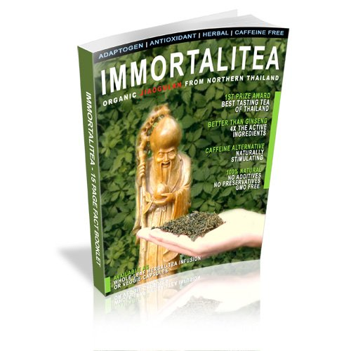 8 Pack   100 Gm (3.5 Oz.)   Jiaogulan Herbal Organic Immortalitea   Retail Cellophane Packages for easy Store shelf display   35% Wholesale Discount   15 page Mini-Booket with 18 Jiaogulan Q&A's with each Package by Aum Tea Company (Image #5)