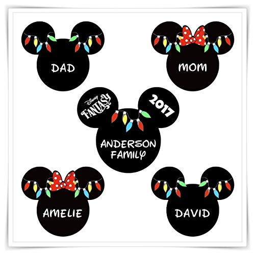 Personalized Disney Inspired Christmas Magnet. Handmade Disney Cruise Christmas Lights Magnet. Mickey Minnie Magnet.]()