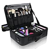 Primalour Large Makeup Train Case - Professional Travel Makeup Bag For Women - Cosmetic Makeup Case with Brush Holders, Dividers, and Toiletries Storage - Easy to Carry, Heavy Duty and Waterproof