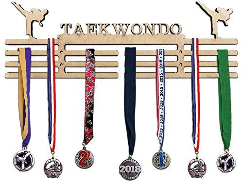 Martial Gold Medal Arts - Arena Gifts Wooden Karate Medal Hanger Display - Taekwondo - Medal Holder - Rack Idea for Martial Artists - Displays Up to 24 Medals or Ribbons