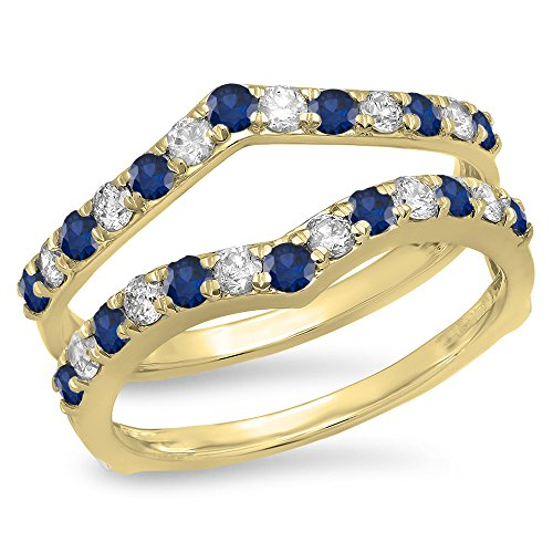 Dazzlingrock Collection 14K Round Blue Sapphire & White Diamond Wedding Enhancer Guard Double Band 1 CT, Yellow Gold, Size 7 (Yellow Gold Ring Wrap)