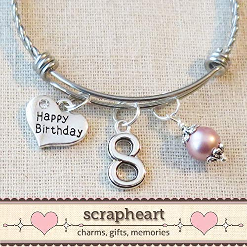 8th BIRTHDAY GIRL Birthday Charm Bracelet 8 Year Old Daughter Gift Idea