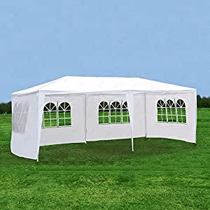 SUNCOO Canopy Outdoor Party Gazebo Tent Heavy Duty Family Event Wedding Tent White 10x30 ,2 Room 4 Sidewalls