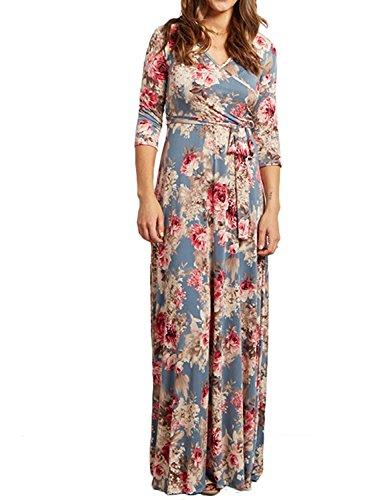 Voguegirl Womens Summer 3/4 Sleeve V Neck Floral Print Faux Wrap Maxi Long Dresses with Belt (L, (Floral Print Belt)