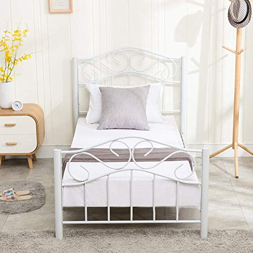 Mecor Twin Size Curved Metal Bed Frame/Mattress Foundation/Platform Bed for Kids Girls Boys Adults with Steel Headboard Footboard,No Box Spring - Bed Country Metal