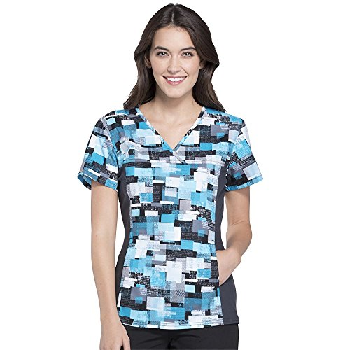 eck Flex Side Panel Geometric Print Scrub Top Medium Print (Cherokee Print V-neck Scrub)