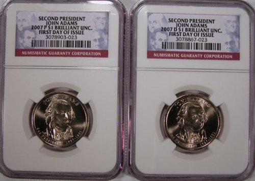 2007 P, D John Adams 1st DAY Issue Set idential Dollar Set - NGC certified FIRST DAY OF ISSUE -