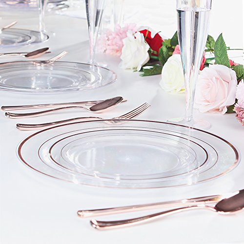 Plastic Wedding Plates.Rose Gold Plates 60 Pieces Clear Plastic Party Plates Premium Heavyweight Disposable Wedding Plates Includes 30 Dinner Plates 10 25 Inch And 30