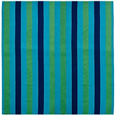 Cotton Craft - Beach Towel for Two 58x68 - Beach Blanket - Oversized Jacquard Woven Velour Beach Towel - Thick Luxurious Velour Pile - Cabana Stripe Navy Green Turquoise - 450 grams 100% Pure Ringspun Cotton