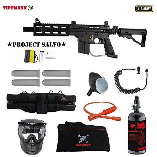 MAddog Tippmann U.S. Army Project Salvo Specialist HPA Paintball Gun Package - Black (Barrel Flatline Shroud)