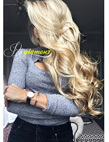 Riglamour Long Wavy Mixed Blonde Highlight Wig for Women Heat Resistant Synthetic Hair Replacement Wigs Lace Front