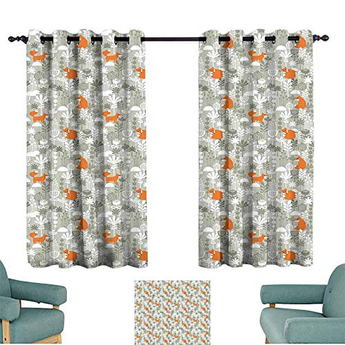 HCCJLCKS Light Luxury high-end Curtains Fox Orange Silhouettes in Winter Forest Hand Drawn Style Flowers and Herbs Blackout Draperies for Bedroom Window W55 xL63 Orange Pale Grey and White