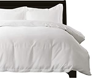 Bedsure 100% Bamboo White Twin Duvet Cover Set - Breathable and Wrinkle Resistant Comforter Cover - 2 Pieces Set (1 Duvet Cover, 1 Pillow Shams) with Corner Ties and Button Closure Bedding