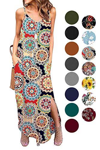 Donnalla Womens Summer Casual Loose V-Neck Dress Sleeveless Long Nightgown Spaghetti Strap Split Maxi Dresses(Geometric X-Large)