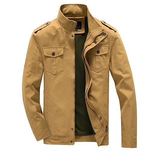 RongYue Men's Fashion Cotton Lightweight Military Windbreaker Jacket (Large, ()