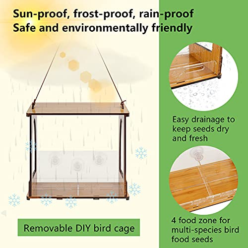 Window Bird Feeder DIY Kits with 4 Seed Zone Birdhouse for Wild Birds Outdoor Bluebird Bamboo Wood Roof, Easy Mount with Strong Screwed Suction Cups Lock Bolt for Suction & Large Outside Hanging Kits