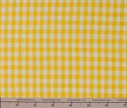 Classic Checkered Searssucker Plaid Fabric, Seerssucker Plaid Fabric, Seersucker Shirting Fabric - YELLOW - Plaid Fabric Seersucker