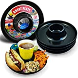 Great Plate – Plastic Party Plate for Food and Drink in One Hand - Black, 6 Piece