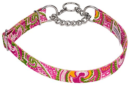 Country Brook Design Pink Paisley Half Check Dog Collars - Large