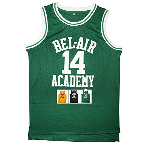 Kobejersey Will Smith 14 The Fresh Prince of Bel Air Academy Basketball Jersey S-XXXL (Green, XXL)