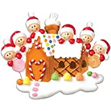 Gingerbread House Family of 6 Personalized Tree Ornament
