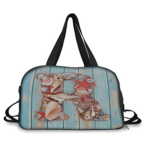 iPrint Travel Handbag,Letter R,Tropical Animals in Alphabet Art Ocean Letter R Seashells Starfish Decorative,Pale Blue Ivory Dark Coral ,Personalized