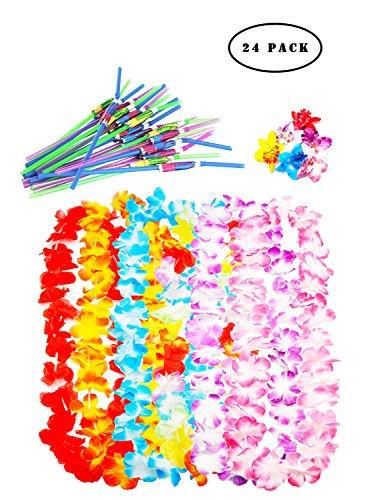 24 Pack Tropical Hawaiian Luau Lei Styles Party Favors-Hawaiian Leis(6pcs) Hawaiian Flower Hair Clips(6pcs) and Umbrella Bendable Straws(12pcs)
