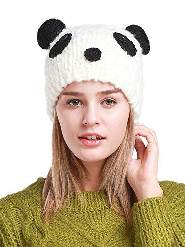 Panda Bear Beanie - Clothink Knit Beanie Cap Hat Cute Panda Pattern Women