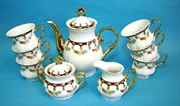 Italian Design Fine Porcelain Teacoffee Set 17 Pc Service For 6