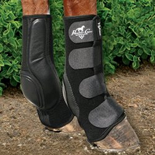 (Professional's Choice Black VenTECH Slide-Tec Skid Boots Horse Leg Hoof Protection Reining Boots (Standard- 13.5)