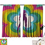 Jinguizi 70s Party Set of 2 Panels Vibrant Colorful Flowers with Dancing Woman Psychedelic and Kaleidoscopic Design Background Darkening Curtains Multicolor W55 x L39