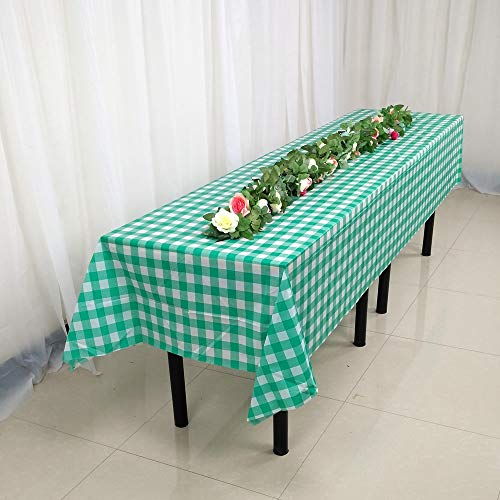 Hecentur Green Checkered Gingham 6 Pack Premium Disposable Plastic Tablecloth 54 inch x 108 inch, Rectangle Table Cover (Green)