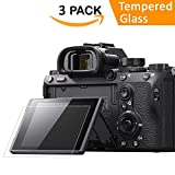 Screen Protector for Sony Alpha a7RIII A7R3 A9 A7II A7RII A7SII A77II A99II RX100 RX100V RX1 RX1R RX10 RX10II Camera, QIBOX Tempered Glass Screen Guard Full Coverage Edge to Edge[3 Pack]