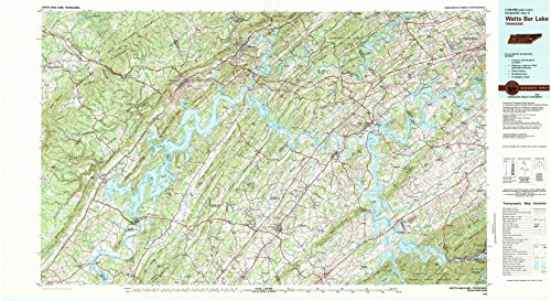 Watts Bar Lake TN topo map, 1:100000 scale, 30 X 60 Minute, Historical, 1981, updated 1984, 24.1 x 44.2 IN - - Concord Map Of Mills