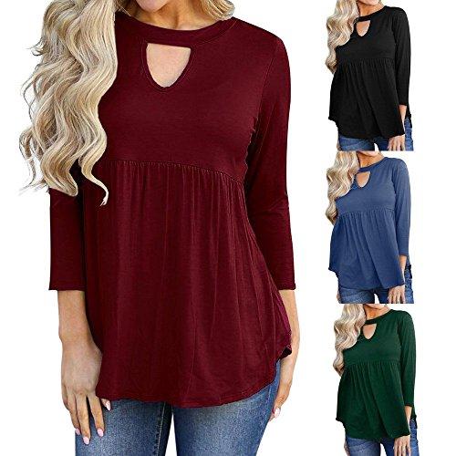 Vuoto Lunga Rosso a Manica Casual Camicia Donna Solido a Top Collo Mecohe Shirt Ruffled da Camicetta T Pieghe 0qxwcCpf