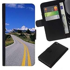 YiPhone /// Tirón de la caja Cartera de cuero con ranuras para tarjetas - Carretera abierta - HTC DESIRE 816