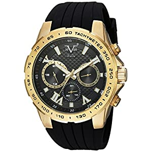 V19.69 Italia Men's Quartz Metal and Silicone Casual Watch, Color:Black (Model: 37VM100301A)