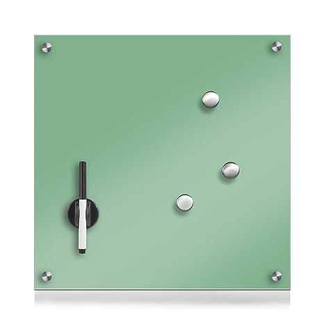 Zeller 11651 - Pizarra de Madera, Cristal, Vidrio, Verde Menta, 40 x 40 cm