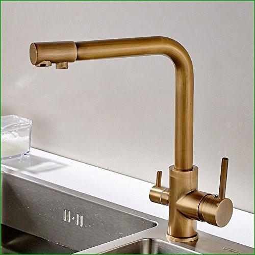 AQiMM Waschtischarmatur Wasserhahn Kupfer Antik Copper-ColGoldt Zwei Dual-Head Und Kaltes Wasser gemäßcht Mit Wasser Schraubenschlüssel  Mischbatterie Waschbeckenarmatur Für Badezimmer Waschbecken