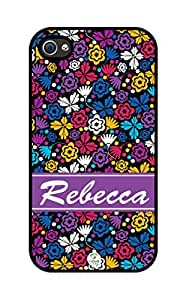 iZERCASE Personalized Colorful Flowers and Butterflies Pattern RUBBER iphone 4 case - Fits iphone 4, iphone 4S T-Mobile, AT&T, Sprint, Verizon and International (Black)