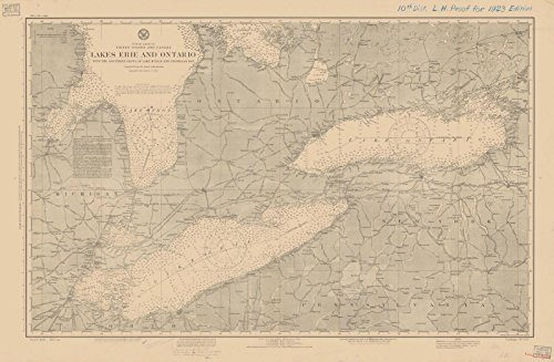 Map - Lakes Erie And Ontario With The Southern Parts Of Lake Huron And Georgian Bay, 1923 Nautical Chart - (OH, NY, MI, PA) - Vintage Wall Art - 66in x 44in (Lake Chart Erie Depth)