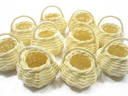 10 Small Round Handmade Wicker Baskets Dollhouse Miniatures Supply - Wicker Dollhouse Furniture