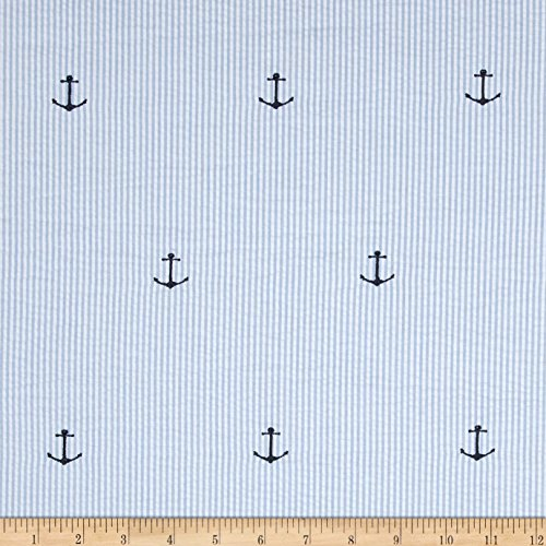 Kaufman Embroidered Seersucker Anchors Blue Fabric By The Yard