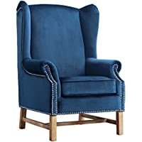 TOV Furniture The Nora Collection Contemporary Velvet Upholstered Solid Oak Living Room Chair, Navy